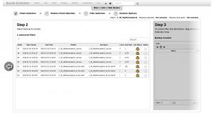BWeb Bacula Web Interface - restore wizard 1